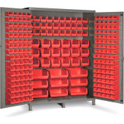 "Bin Cabinet Flush Door with 227 Red Bins, 16 Ga. All-Welded Cabinet 60""W x 24""D x 84""H, Gray"
