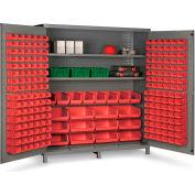 "Bin Cabinet Flush Door with 212 Red Bins, 16 Ga. All-Welded Cabinet 72""W x 24""D x 84""H, Gray"