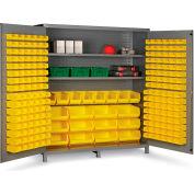 "Bin Cabinet Flush Door with 212 Yellow Bins, 16 Ga. All-Welded Cabinet 72""W x 24""D x 84""H, Gray"