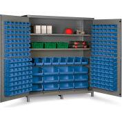 "Bin Cabinet Flush Door with 212 Blue Bins, 16 Ga. All-Welded Cabinet 72""W x 24""D x 84""H, Gray"