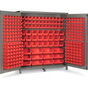 "Bin Cabinet Flush Door with 264 Red Bins, 16 Ga. All-Welded Cabinet 72""W x 24""D x 84""H, Gray"