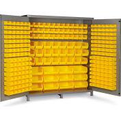 "Bin Cabinet Flush Door with 264 Yellow Bins, 16 Ga. All-Welded Cabinet 72""W x 24""D x 84""H, Gray"