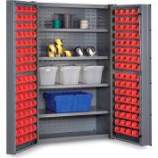 """Bin Cabinet Deep Door with 128 Red Bins, 16 Ga. All-Welded Cabinet 48""""W x 24""""D x 72""""H, Gray"""