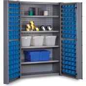 "Bin Cabinet Deep Door with 128 Blue Bins, 16 Ga. All-Welded Cabinet 48""W x 24""D x 72""H, Gray"