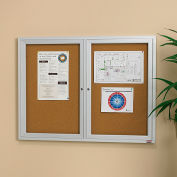 "Relius Solutions Cork Board With Aluminum Frame - 48X36"" - 2 Door- Indoor"