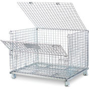"Relius Solutions Collapsible Wire Containers - 48""Wx40Lx39-1/2""H - 2X2"" Mesh - Container With Lid"