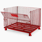 "Relius Solutions Collapsible Wire Containers With Powder Coat Finish - 48""Wx40""Lx35""H - Red"