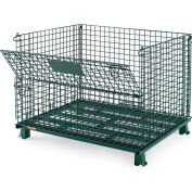 "Relius Solutions Collapsible Wire Containers With Powder Coat Finish - 48""Wx40""Lx35""H - Green"