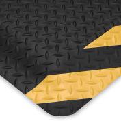 Wearwell Ultrasoft Diamond-Plate Anti-Fatigue And Safety Mat - 2X3' - Black/Yellow Chevron Border