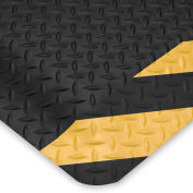 Wearwell Ultrasoft Diamond-Plate Anti-Fatigue And Safety Mat - 3X5' - Black/Yellow Chevron Border