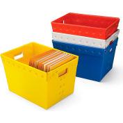 "Relius Solutions Corrugated Plastic Totes - 18-1/2 X13-1/4 X11-3/8"" - White - Pkg Qty 5"