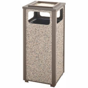 Rubbermaid Steel Stone Panel Trash Receptacle/Sand Urn, 12-Gallon Cap., Gray Frame/Dove Gray Panels