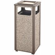 Rubbermaid Steel Stone Panel Trash Receptacle/Sand Urn, 12-Gallon Cap., Gray Frame/Dove Gray Panels