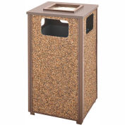 Rubbermaid Steel Stone Panel Trash Receptacle/Sand Urn, 24-Gallon Cap., Brn Frame/Desert Brn Panels