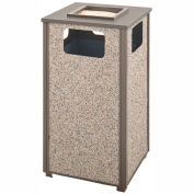 Rubbermaid Steel Stone Panel Trash Receptacle/Sand Urn, 24-Gallon Cap., Gray Frame/Dove Gray Panels