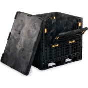 "ORBIS HDR4048-39 BulkPak Folding Bulk Shipping Container - 48""L x 40""W x 39""H, 2000 Lb. Cap. Black"