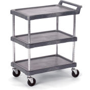 "Olympic Storage Utility Cart With Chrome Posts, 3 Shelf, 38""Lx17""W, Gray"