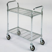 "Square-Post Wire Utility Carts with Rubber Casters - 36"" Wx24"" D Shelf - 2 Shelves"