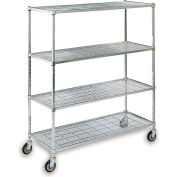 "Square-Post Wire Shelf Trucks with Polyurethane Casters - 48"" Wx18"" D Shelf - 70"" H"