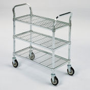 "Square-Post Wire Utility Carts with Rubber Casters - 36"" Wx18"" D Shelf - 3 Shelves"