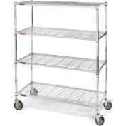 """Square-Post Wire Shelf Trucks with Smart Casters - 48"""" Wx18"""" D Shelf - 60"""" H"""