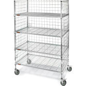 """Square-Post Wire Stock Trucks with Smart Casters - 48"""" Wx24"""" D Shelf"""