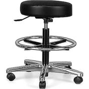"""Brewer Polyurethane and Vinyl  Stool - 24-1/2-34-1/2"""" Seat Height - With Hard floor casters Black"""
