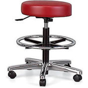"Brewer Vinyl Seating - Stool With Back - 24-1/2-34-1/2"" Seat Height - With Hard Floor Casters"