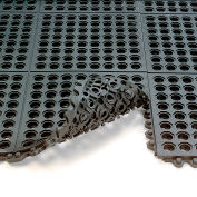 Wearwell 24/Seven Anti-Fatigue Mat - Cutting Fluid Resistant Rubber - Drainage Tile - 3X3'
