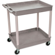 "Luxor | H. Wilson Tray-Shelf Carts - 32""Wx24""D Shelf - 38-1/2""H - Gray"