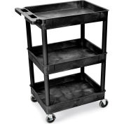 "Luxor | H. Wilson Tray-Shelf Carts - 24""Wx18""D Shelf - 40-1/2""H - Black"