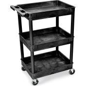 "Luxor | H. Wilson Tray-Shelf Carts - 24""Wx18""D Shelf - 40-1/2""H - Black"
