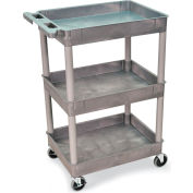 "Luxor H. Wilson Tray-Shelf Carts - 24""Wx18""D Shelf - 41-1/2""H Gray"