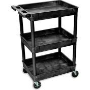 "Luxor H. Wilson Tray-Shelf Carts - 24""Wx18""D Shelf - 41-1/2""H Black"