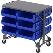 """Akro-Mills Shelf-Top Bin Cart - 38-1/2 x24x36-1/2"""" - (12) 16-1/2 x14-3/4 x7"""" Bins - Blue"""