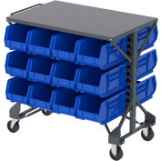 "Akro-Mills Shelf-Top Bin Cart - 38-1/2 x24x36-1/2"" - (24) 8-1/4 x14-3/4 x7"" Bins - Blue"