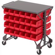 """Akro-Mills Shelf-Top Bin Cart - 38-1/2 x24x36-1/2"""" - (48) 5-1/2 x10-7/8 x5"""" Bins - Red"""