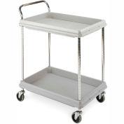"Metro Deep-Ledge Utility Cart With Chrome Posts, 2 Shelf, 38""Lx27""W, Light Gray"