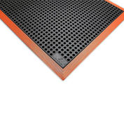 "Wearwell Heavy Duty Drainage Mat - 36 x 116"" - Black with Black/Orange Border"