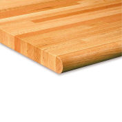 "60""W x 30""D x 1-3/4"" Thick Varnique Finished Oak Butcher Block Safety Edge Workbench Top"