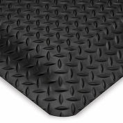 "Wearwell Diamond-Plate Spongecote Mat - 36X60"" - Black"