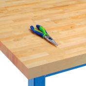 "72""W x 30""D x 1-3/4"" Thick, Finished Birch Butcher Block Square Edge Workbench Top"