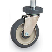 "5"" Casters For Metro Open-Wire Shelving - Resilient Rubber - Rigid With Bumper"