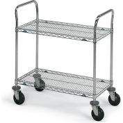 "Metro Stainless Steel Wire Utility Carts - 36"" Wx24"" D Shelf"