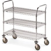 "Metro Three-Shelf Wire Carts - 60"" Wx24"" D Shelf"