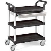 "Relius Solutions High-Capacity Utility Carts With Alum. Uprights - 26""Wx17""D Shelf - 39""H W/Drawer"