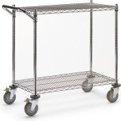 "Relius Solutions Wire Utility Carts With Chrome Finish - 48""Wx18""D Shelf - 40""H"
