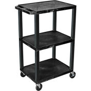 "Luxor H.Wilson Tuffy Utility Carts - 24""Wx18""D Shelf - 42""H Black"