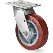 "304 Stainless Steel Casters - Rigid - 5""Dia.x2""W Polyolefin Wheel - 4x4-1/2"" Top Plate"