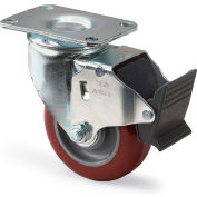 "Colson HI-TECH Polyurethane Casters - Swivel with Total Lock- 5""Dia.x1-1/4""W Wheel"